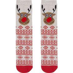 TOPSHOP Pom Pom Fairisle Rudolph Socks (8.00 CAD) ❤ liked on Polyvore featuring intimates, hosiery, socks, oatmeal, short socks, tennis socks, christmas socks, ankle socks and pom pom socks