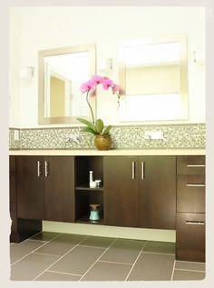 Bathroom vanity. Mosaic tile backsplash. Design & photo © Kelly Berg, Story & Space.