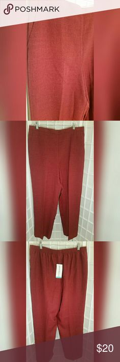 Nwt ladies dress pant slacks trousers 16 Nwt ladies dress pant slacks trousers  Color is spice (its a dark red)  Excellent condition   Material content  100% polyester   Measures aprox. waist 17.5in./35in. around Rise 13.5in. inseam 30in. Alfred Dunner Pants Trousers