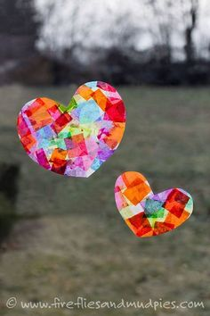 Rainbow Heart Suncatchers brighten up dreary winter windows. Perfect for Valentine's Day! | Fireflies and Mud Pies