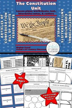 Constitution Lessons include lesson plans, activities, worksheets, and passages about the articles and amendments of the U.S. Constitution. #vestals21stcenturyclassroom #constitution #teachingtheconstitution #constitutionactivities #constitutionlessons #constitution5thgrade #constitutionmiddleschool #constitutionworksheets