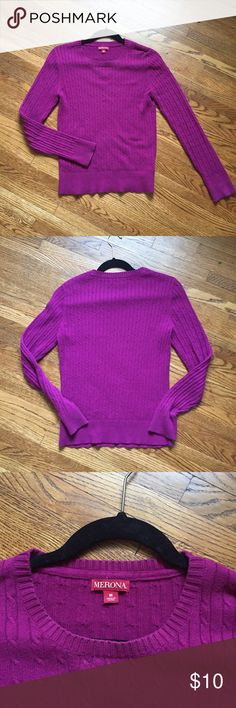 Mulberry Sweater Mulberry colored sweater with cable knit type pattern. Looks very skinny in picture but it's a stretchy garment for sure. Merona Sweaters