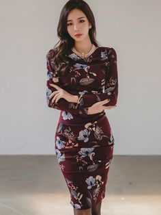 TideBuy -  TideBuy Ladylike Floral Print Long Sleeves Womens Bodycon Dress  - AdoreWe.com 647a951b9f54