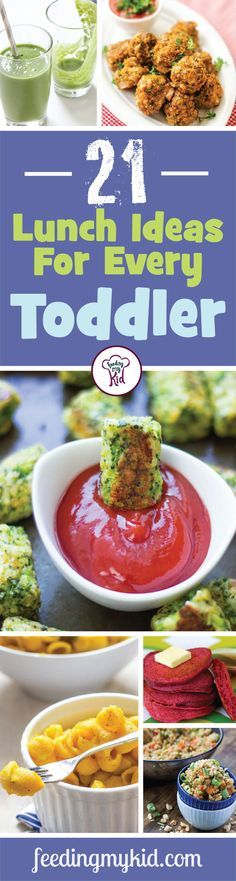 21 Lunch Ideas For Every Toddler - This is a must pin! Here's our ultimate list of toddler lunch ideas. From sweet potato lentil and cheddar croquettes to healthy baked broccoli tots; these recipes are sure to please any toddler from the pickiest little one to the food crazy tot! This is a must share! #fmk #recipes