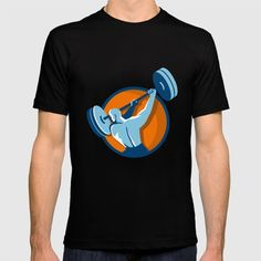 Weightlifter Swinging Barbell Back View Circle Retro T-shirt Illustration of a weightlifter lifting swinging barbell looking to the side viewed from the back set inside circle on isolated background done in retro style.#illustration #WeightlifterSwingingBarbell
