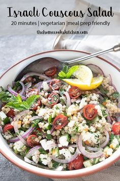 Light and zesty, this Israeli couscous salad is perfect for summer entertaining. Fresh herbs, combined with juicy, lemony tomatoes and chewy couscous. Israeli Couscous Salad, Couscous Salat, Brunch, Vegetarian Recipes, Healthy Recipes, Vegetarian Salad, Fish Salad, Salad Recipes, Couscous Recipes