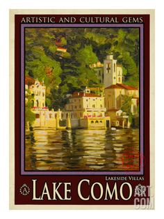 Lake Como vintage travel poster