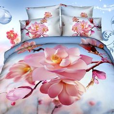 3D Pink Flowers & Blue Sky Bedding Set. 100% Cotton. Sizes Full, Queen and King 4 pcs