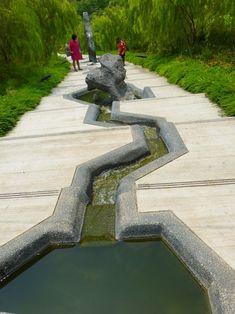 Ideas Urban Landscape Architecture Water Ponds For 2019 Water Architecture, Landscape Architecture Design, Water Pond, Water Garden, Garden Ponds, Koi Ponds, Water Water, Modern Landscaping, Garden Landscaping