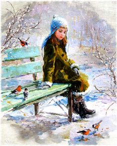 A young girl watches as little birds peck at their Christmas Eve supper... ~ (gif, illustration, card)