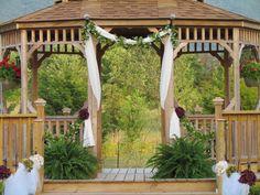 Decorated gazebo for wedding. khimaira farm wedding venue Shenandoah Valley Blue Ridge Mountains Luray VA
