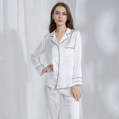 Silk Pyjamas with Contrast Piping | Australia | Silk Only