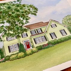 Hand painted watercolor house portraits. House Paintings, Custom Homes, Promotion, Hand Painted, Watercolor, Mansions, Portrait, House Styles, Drawings