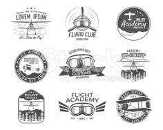 Vintage airplane emblems. Biplane labels. Retro Plane badges, design elements royalty-free stock vector art