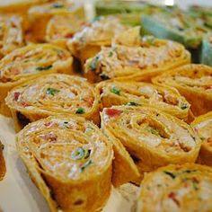 Spicy Chicken Tortilla Roll-Ups JBEALE NOTE:  I made this with rotel instead of all the other spices.  Great hit at a Church function!