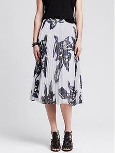 Banana Republic Floral Pleated Midi Skirt, White