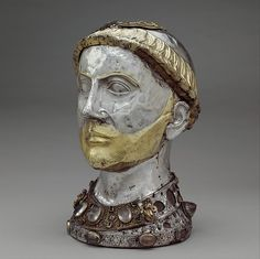 #MetKids Fun Fact: Heads up! A reliquary is a container for relics, or holy objects. This one used to hold the skull of Saint Yrieix[ee-ree-AY], who lived over 1500 years ago. There is a grate on top that lets you peek inside. | Reliquary Bust of Saint Yrieix, ca. 1220–40, with later grill. French. The Metropolitan Museum of Art, New York. Gift of J. Pierpont Morgan, 1917 (17.190.352a, b)