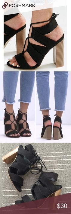 """ASOS Lace Up Block Heels Sandal Faux Suede Worn only a few times, too big for me. Still in great condition. Should fit 7.5/8, EU 38. Material is a faux suede, 4.5"""" heel, lace up tie fastening. New Look brand from ASOS. ASOS Shoes Sandals"""