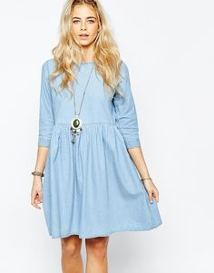 Boohoo+Oversized+Denim+Smock+Dress