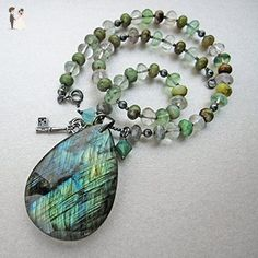 Green labradorite big drop oxidized 925 sterling silver beaded pendant necklace - Wedding nacklaces (*Amazon Partner-Link)