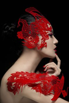 The world of Holly Orient   red dragon lace headpiece  editorial