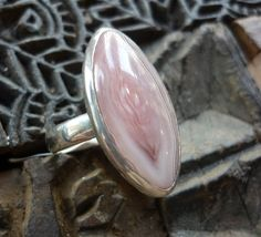 Sterling silver stone ring with agate botswana stone