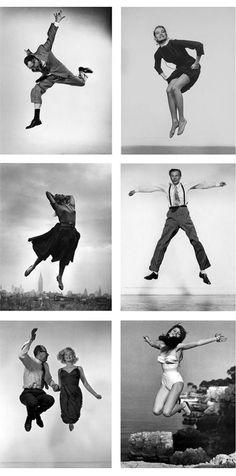 """by Philippe Halsman  Técnica del """"jumping style"""" o """"jumpology"""".  «En un salto, la máscara se cae. La persona real se hace visible»"""
