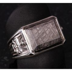 Art Deco Inspired Men's Meteorite Ring