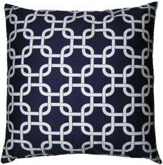JinStyles Cotton Canvas Trellis Chain Accent Decorative Throw Pillow Cover (Navy Blue & White, Square, 1 Cover for 18 x 18 Inserts)