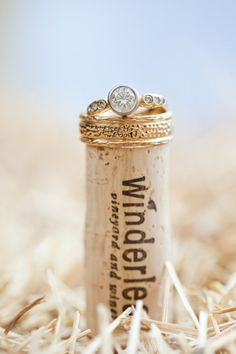 Zach's band and my ring on the cork of our wine bottle from the wedding idea.