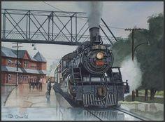 "Art by David A. Oram-12""x16"", Watercolour, 2002 Private Collection  CNR Ten Wheeler #1370 at Palmerston, Ontario."