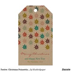 Festive  Christmas Poinsettia Holiday Gift Tags