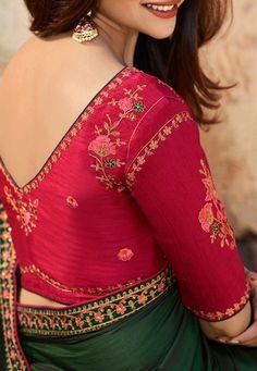 Embroidered Border Art Silk Saree in Dark Green - Saree Blouse Neck Designs, Fancy Blouse Designs, Bridal Blouse Designs, Kurta Designs, Saree Dress, Blouse For Silk Saree, Saree Blouse Patterns, Silk Blouses, Art Silk Sarees