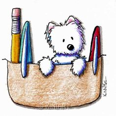 © KiniArt™ - ALL Rights Reserved. Original Westie Terrier Dog Art Pocket Protector Matted by KiniArt, $55.00