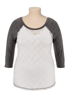 3/4 sleeve lace plus size baseball tee (original price, $29) available at #Maurices
