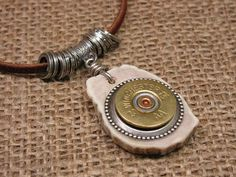 Shotgun Casing Jewelry - Mens Jewelry - Unisex Winchester 20 Gauge Deer Antler Leather Corded Necklace - Rustic, Outdoors - Gift for Guy via Etsy
