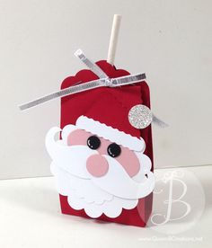 Stampin' Up! Tootsie Pop holder and punch art Santa face using punches and mustache framelit.
