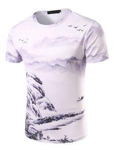 9839eb9e3 Camiseta blanca de algodón mezclado con manga corta con escote redondo con  estampado estilo informal para