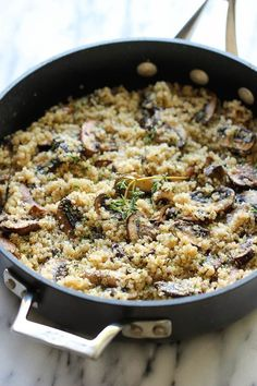 Garlic Mushroom Quinoa Recipe. Yummo. Nutritional info inside.