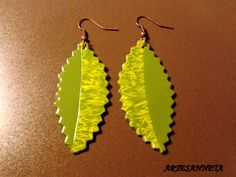Leaf earrings made by green and lima fimo.