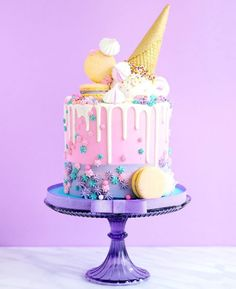 Pastel lilac and pink unicorn style cake