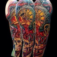 Skull and timepiece tattoo.