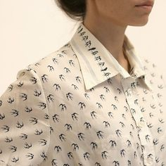 1970s Vintage Bird Pattern White Short Sleeves Collar Blouse