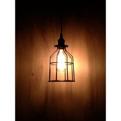 Industrial Pendant Light, Black Metal Cage, Modern Pendant, Minimal... (£40) ❤ liked on Polyvore featuring home, lighting, ceiling lights, light bulb lamp, wall-mounted lamps, black pendant light, ceiling mounted lights and black metal ceiling lights
