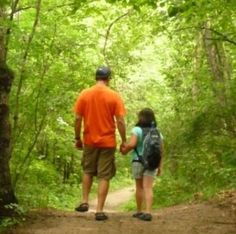 This is picture of Tony and Lizzy on a hike in our woods.  This is a visual of what their relationship is like.  Forever Daddys Little Girl. for-my-lizzy personal-development personal-development
