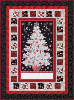 O Christmas Tree designed by Ariga Mahmoudlou for Robert Kaufman. Features Winter's Grandeur by Studio RK, shipping to stores June 2019. Three colorways (holiday, sky, scarlet). Free pattern available for download June 2019 (robertkaufman.com) #freeatrobertkaufmandotcom