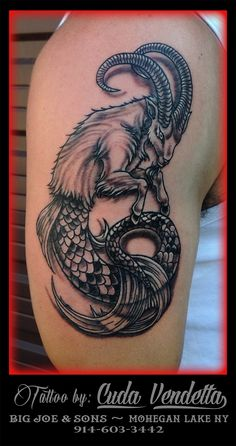 TATTOOS BY CUDA VENDETTA Did this Capricorn tattoo, start of a half sleeve. Backgrounds to follow! BIG JOE & SON'S TATTOO - MOHEGAN LAKE NY 914-603-3442