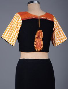 f56fd04cbb75f6 Buy Black Orange Embroidered Cotton Blouse with Sequins Women Blouses A  Sequined Affair embroidery and Online