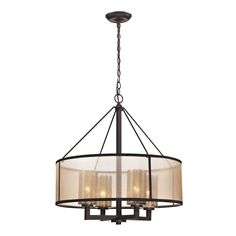 The Elk Lighting Diffusion chandelier is the antique charm of mercury glass that is modernized through a softly diffusing beige organza drum shade. The oil-rubbed bronze finished metalwork supplies a striking contrast to the lighter colored shades.