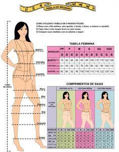 Tabela de Medidas Femininas Para Compras Online